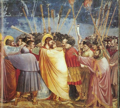 Il bacio di Giuda di Giotto, nella cappella degli Scrovegni a Padova.